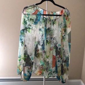Anthropologie boho silk blouse